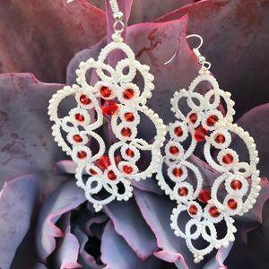 "Handmade lace earrings ""Tender KISS"""